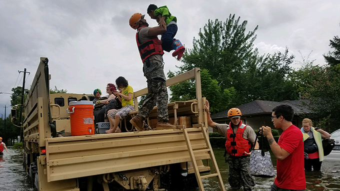 Texas National Guard Soldiers arrive in Houston to rescue stranded residents in flooded areas from the storms of Hurricane Harvey on Aug. 27, 2017. (Photo by Lt. Zachary West)