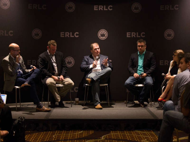 Andrew Walker of the Southern Baptist Convention's Ethics and Religious Liberty Commission moderates a panel on LGBT issues at the 2017 ERLC conference. Photo courtesy of Kelly Hunter
