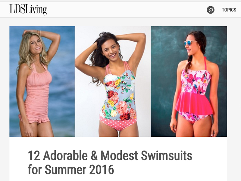 An article on modest swimsuit options at LDSLiving.com. Screenshot