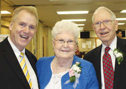 Evangelist David Ring (left) of Nashville, Tenn., poses with Marian and Don Wideman at an event at First Baptist Church of North Kansas City, Mo., honoring the couple. Don is a former pastor of the church and retired Missouri Baptist Convention executive director. The Wideman family befriended and encouraged Ring when he was a young person. Ring credits Don with being his mentor in the ministry. (Sally Wideman)