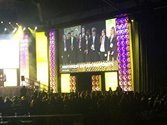 The SBU Enactus team (shown on the screen) acknowledges recognition during the semifinal round of Enactus USA held in St. Louis earlier this year. The team's hard work resulted in them being recognized among the top 20 teams in the country. Enactus was formerly known as Students in Free Enterprise. (SBU)