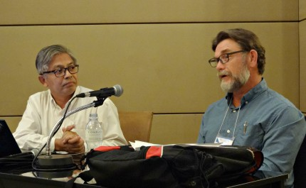 Aye Min, left, and Graham Walker speak at the BWA's Commission on Interfaith Relations about Baptist-Buddhist relationships. (Photo: Brian Kaylor)
