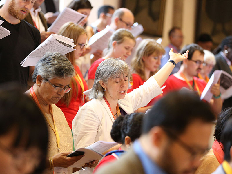 Participants attend a service during the World Communion of Reformed Churches General Council in Wittenberg, Germany, on July 5, 2017. Photo courtesy of WCRC/Anna Siggelkow