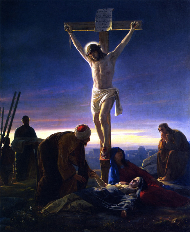 """""""Christ on the Cross,"""" by Carl Heinrich Bloch from 1870, showing darkened skies. Image courtesy of Creative Commons"""