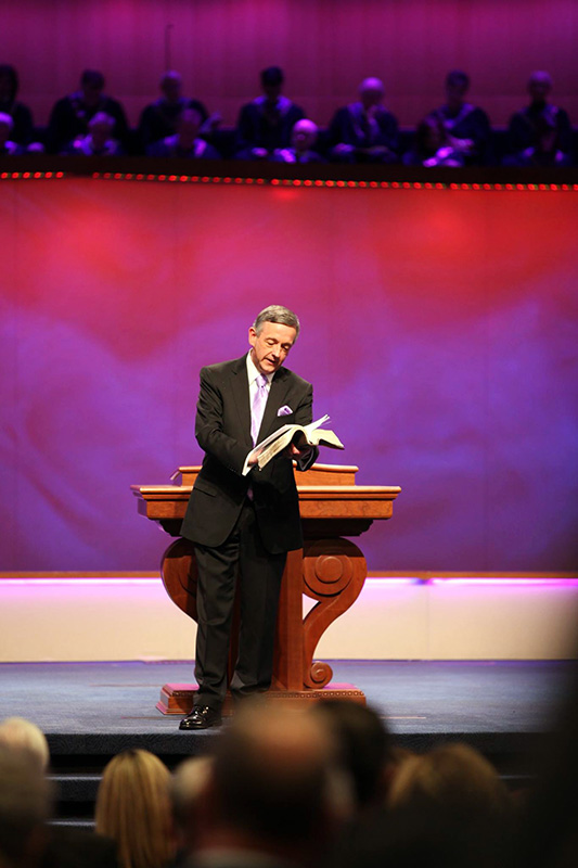 Pastor Robert Jeffress preaches at First Baptist Dallas. Photo courtesy of First Baptist Dallas