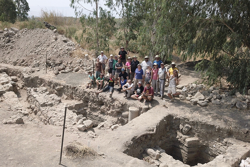 The archaeological team at the excavation site in northern Israel. Photo by Zachary Wong