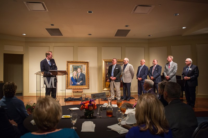 Jason Allen, president of Midwestern Seminary, recognizes members of the presidential search committee -- who nominated him to the Board of Trustees for election -- during his fifth anniversary celebration on Oct. 16. MBTS Photo