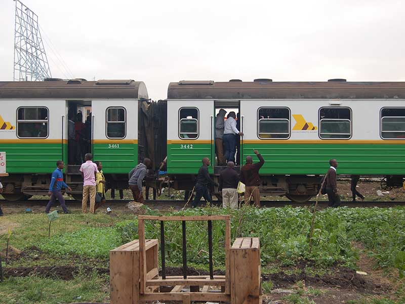 A section of coaches of a Kenyan train that takes commuters between Ruiru and Nairobi City, shown at Mutindwa crossing point in east Nairobi on Sept. 28, 2017. The train is seeing increased religious activity. Photo by Fredrick Nzwili