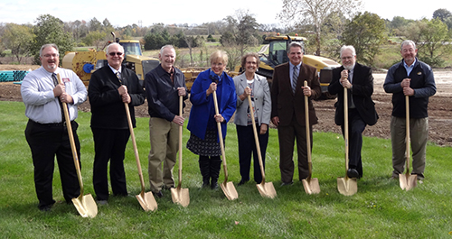 Participating in the groundbreaking for The Baptist Home's Central Missouri  campus are (from left): Ron Mackey, Steven Jones, Keith McGowan, Jeanie McGowan, Annetta Kirkpatrick, Steve Long, Bart Tichenor and Bill Lloyd. (Brian Kaylor/Word&Way)