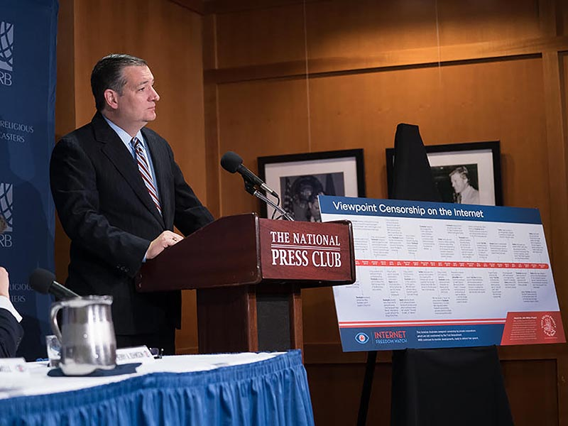 Sen. Ted Cruz, R-Texas, voices his support for the Internet Freedom Initiative at the National Press Club on Dec. 7, 2017. (Bwerani Nettles/NRB)