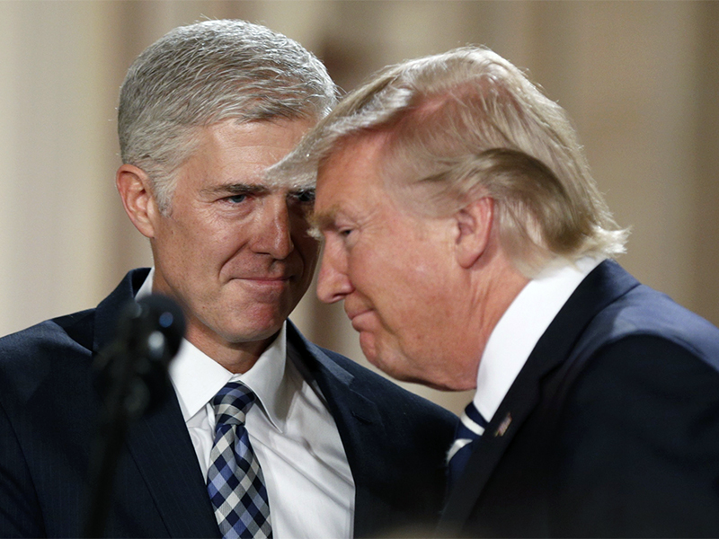 President Trump, right, and Neil Gorsuch smile as Trump nominates Gorsuch to be an associate justice of the U.S. Supreme Court at the White House in Washington, D.C., on Jan. 31, 2017. (Photo: Kevin Lamarque/Reuters)