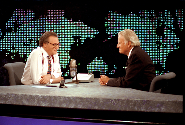 """Billy Graham (right) during an interview on CNN's """"Larry King Live"""" in 1994. RNS photo courtesy of the Billy Graham Evangelistic Association."""