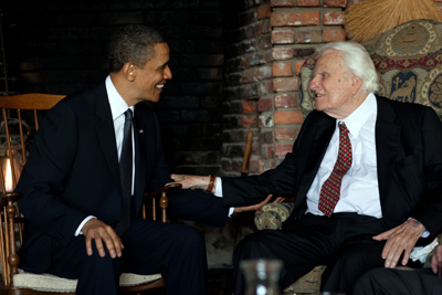 President Obama meets with the Rev. Billy Graham at his house in Montreat, N.C., April 25, 2010. RNS photo courtesy Pete Souza/The White House