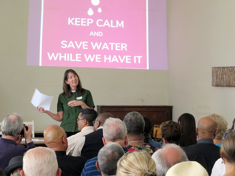 The Rev. Rachel Mash, environmental coordinator for the Anglican Church of Southern Africa and Green Anglicans, organized and presents at the Anglican Diocese of Cape Town's Water (In)Justice Conference at Zonnebloem on Feb. 3, 2018. RNS photo by Brian Pellot