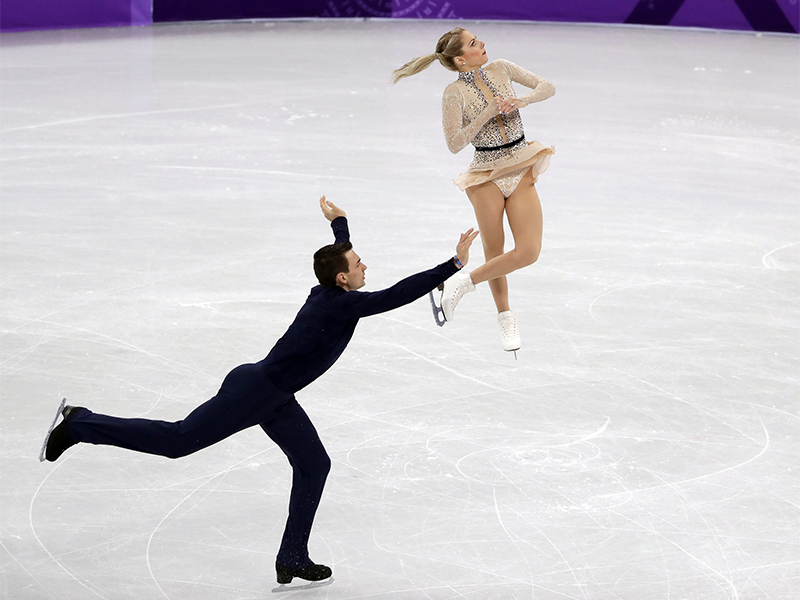 Chris Knierim, left, and Alexa Scimeca Knierim, of Team USA, perform in the pair skating short program team event at the 2018 Winter Olympics in Gangneung, South Korea, on Feb. 9, 2018. (AP Photo/Julie Jacobson)