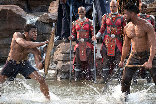 "Chadwick Boseman, left, and Michael B. Jordan in a scene from ""Black Panther."" Photo courtesy of Matt Kennedy/Marvel Studios"