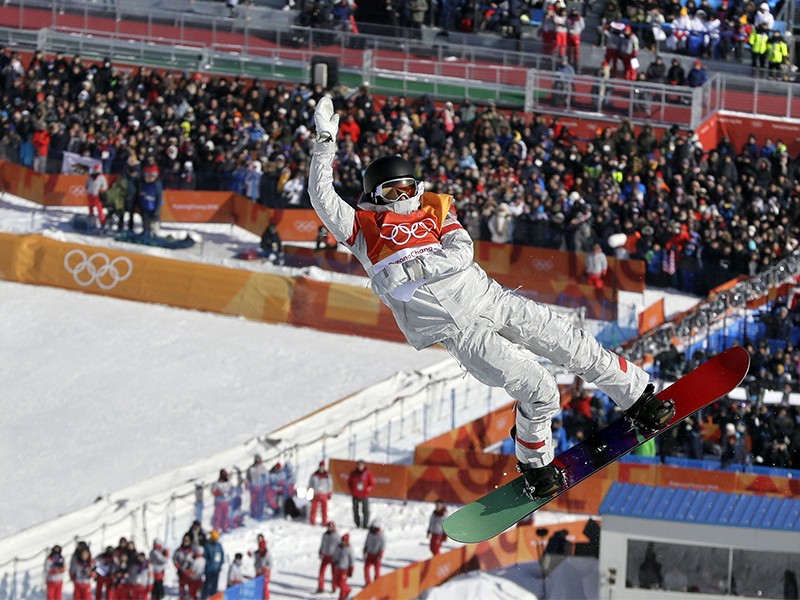 Kelly Clark, of the United States, jumps during the women's halfpipe finals at Phoenix Snow Park at the 2018 Winter Olympics in Pyeongchang, South Korea, on Feb. 13, 2018. (AP Photo/Kin Cheung)