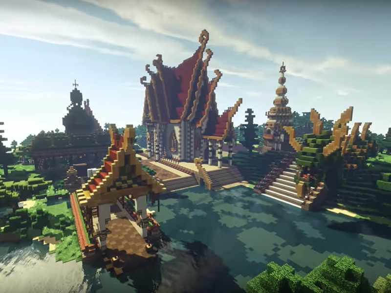A Thai temple complex created in Minecraft. Screenshot from YouTube