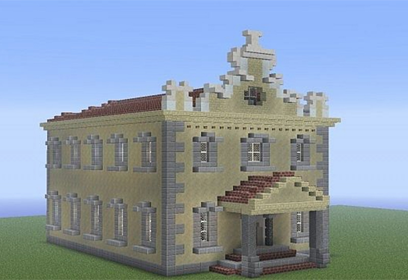 A Minecraft re-creation of the Great Synagogue of Gibraltar. Image by PolishPlayer34