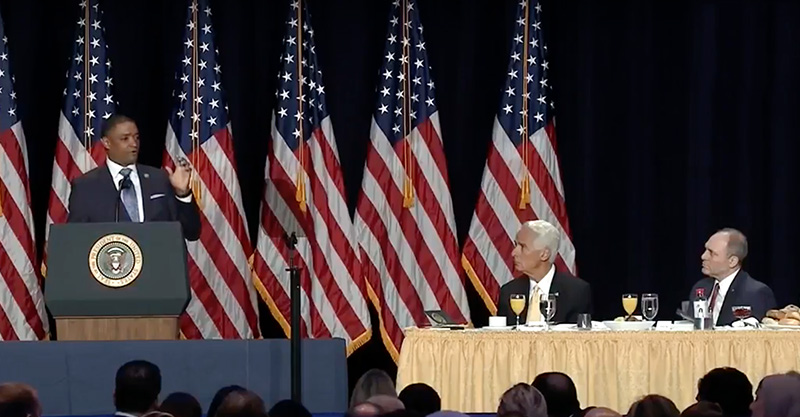 U.S. Representative Cedrick Richmond (D-La.), left, speaks during the National Prayer Breakfast on Feb. 8, 2018, in Washington, as fellow Louisiana Rep. Steve Scalise (R-La.) listens, at right. Photo courtesy of Creative Commons