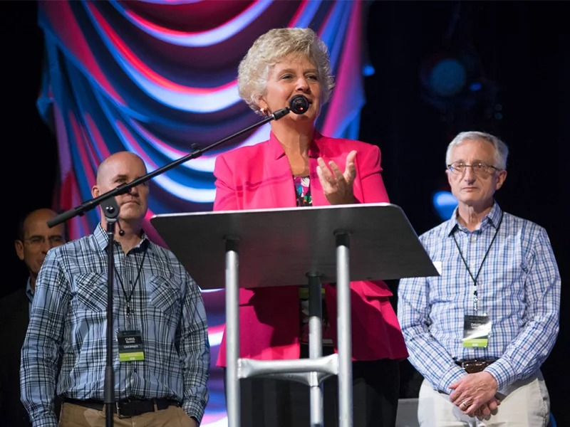 The Rev. Donna Barrett addresses the Ohio Ministry Network. Photo by Ricardo Camacho/Ohio Ministry Network