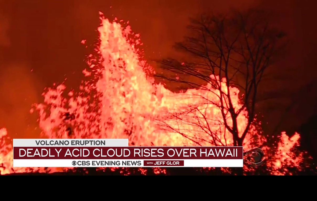 The latest eruption of Hawaii's Kilauea volcano has forced some 2,000 residents of the Big Island to evacuate their homes. Screen capture from CBS News.