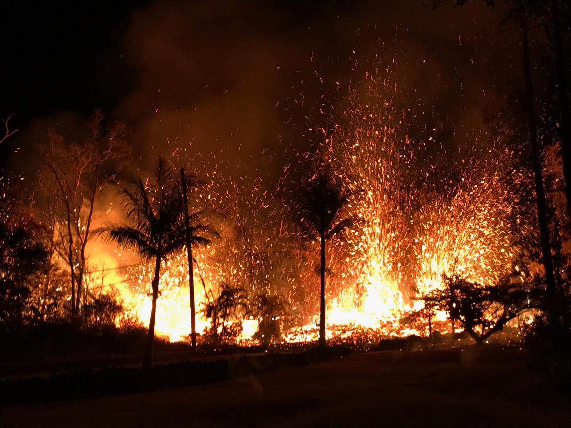 Hawaii's Kilauea volcano has destroyed 36 structures, including 26 houses, since it began releasing lava through vents May 3. Photo from USGS.gov