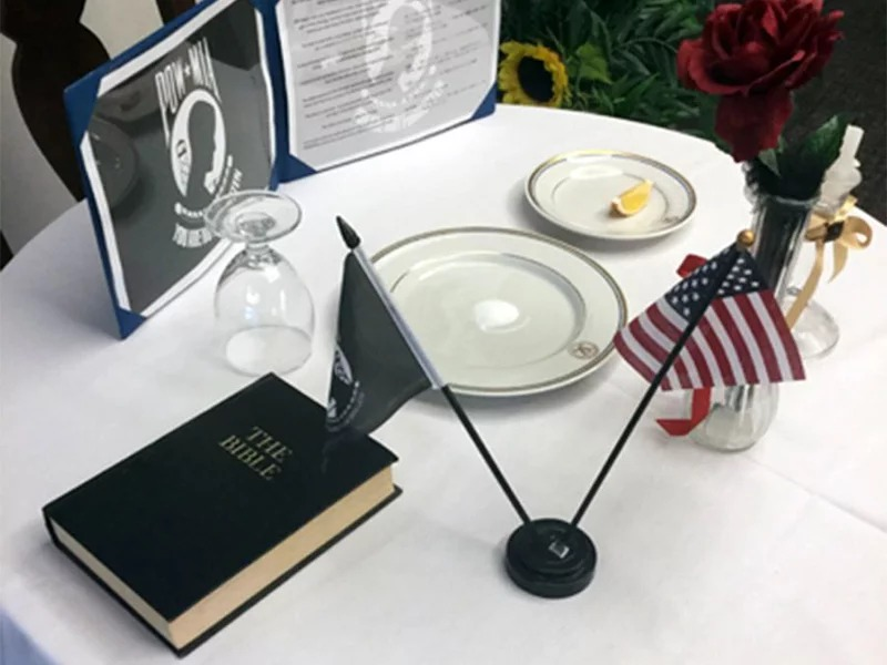 This Bible in a POW/MIA display at U.S. Naval Hospital Okinawa was the impetus for the Military Religious Freedom Foundation's complaint with the Navy. Photo courtesy of MRFF