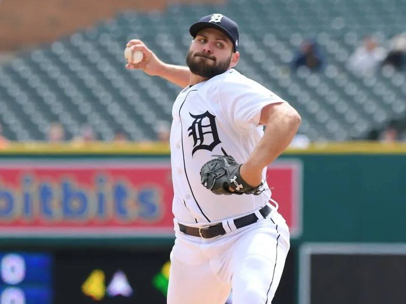 Detroit Tigers right-hander Michael Fulmer pitches against the Pittsburgh Pirates at Comerica Park in Detroit on April 1, 2018. Fulmer took the loss in the 1-0 game despite giving up only one earned run in eight innings pitched. Photo by Mark Cunningham, courtesy of Detroit Tigers