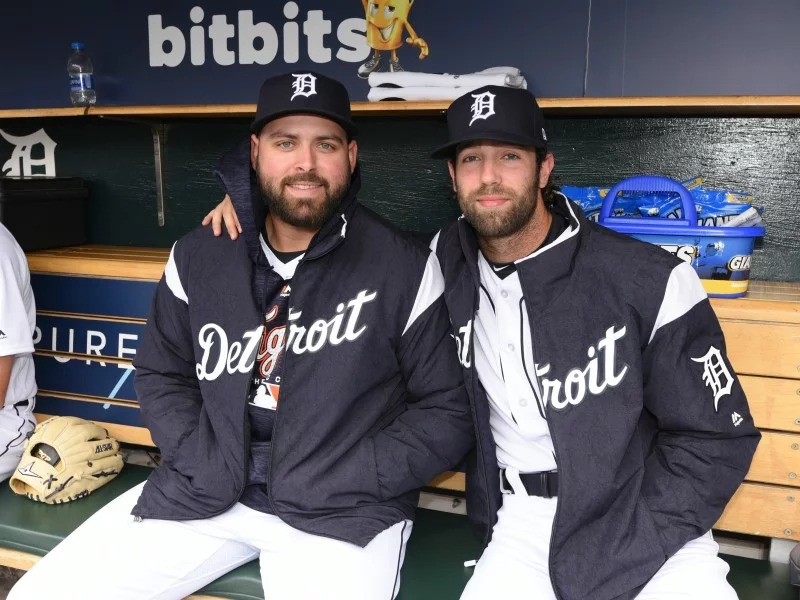 Tigers pitchers Michael Fulmer, left, and Daniel Norris are among a number of Detroit players who speak openly about their Christian faith. As a 16-year-old high school student, Norris was baptized in his baseball uniform. Photo by Mark Cunningham, courtesy of Detroit Tigers