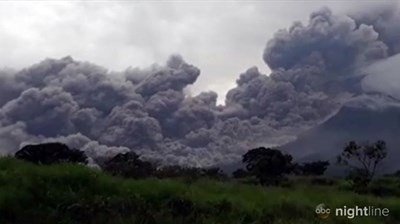 "The Fuego ""volcano of fire"" south of Guatemala City covered entire villages in ash after a June 3 eruption that killed at least 69. Screen capture from ABC News."