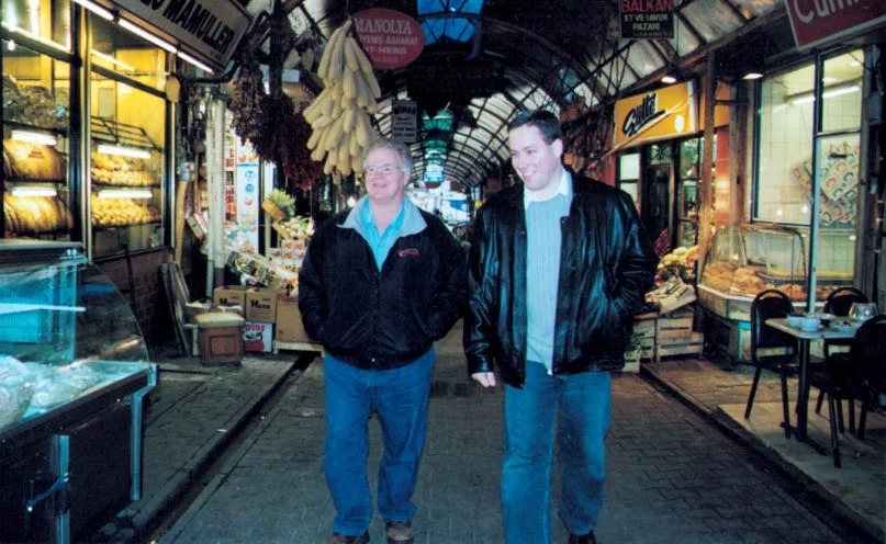 Southeastern Seminary President Paige Patterson and Ph.D. candidate J.D. Greear walk through a market in Istanbul, Turkey, in January 2003. Southeastern Seminary photo by Kelly Davis, via Baptist Press
