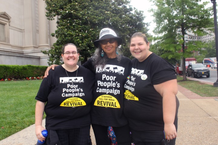 Hope Koss, Tree Muldrow and Savannah Kinsey traveled from Pennsylvania to attend the Poor People's Campaign rally in Washington on June 23, 2018. RNS photo by Adelle M. Banks