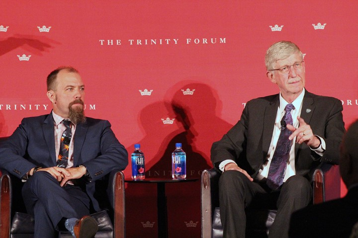 """James K.A. Smith, left, and Francis Collins participate in """"Moving Beyond Conflict: Science and Faith in Harmony"""" in Washington on June 18, 2018. RNS photo by Adelle M. Banks"""