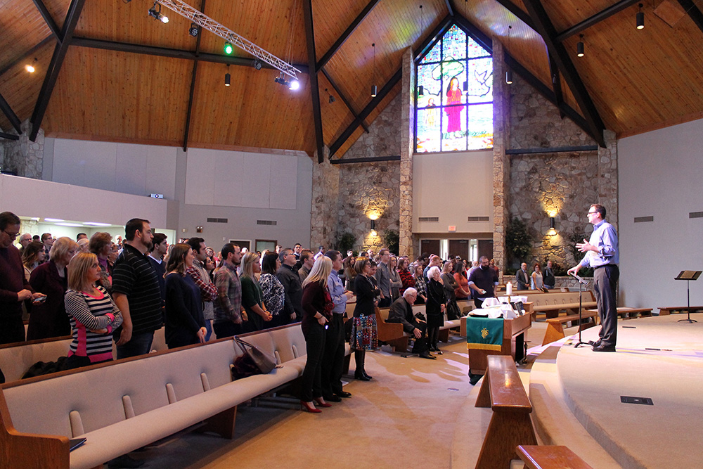 Jon Middendorf, senior pastor of Oklahoma City's First Church of the Nazarene, speaks to the congregation on January 29, 2017. RNS photo by Bobby Ross Jr.