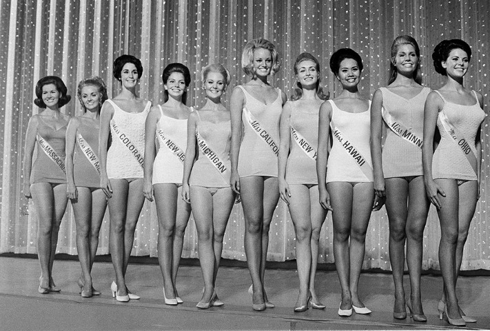 Ten semi-finalists of the Miss America pageant pose in their swimsuits in Atlantic City, N.J., Sept. 6, 1969. (AP Photo/Bill Achatz)