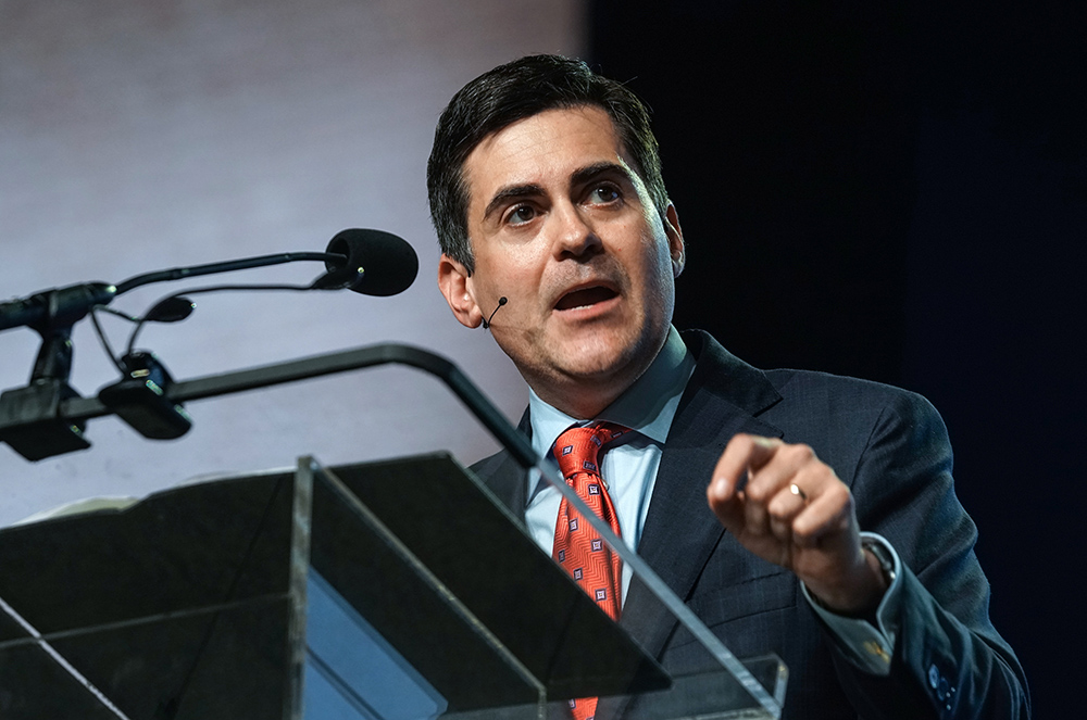 Russell Moore, president of the Ethics and Religious Liberty Commission, gives a report during the final session of the two-day Southern Baptist Convention annual meeting on June 13, 2018, in Dallas. Photo by Kathleen Murray via Baptist Press