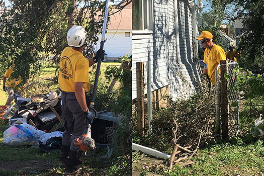 Volunteers serving with the Iowa Baptist Convention's Southern Baptist Disaster Relief team begin cleanup in a homeowner's yard in Marshalltown, Iowa. The town was hit by an EF-3 tornado Thursday, July 19. Photos courtesy of Iowa Baptist Convention Disaster Relief