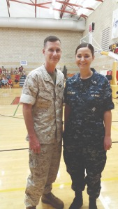 Rogers and Greenfield pictured at the Marine Corps Trials in Camp Pendleton where Rogers was chaplain of the Wounded Warrior Battalion West.
