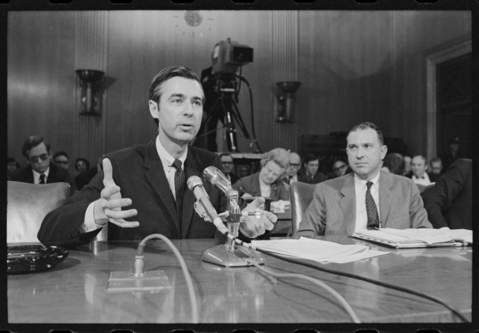 "Fred Rogers testifies before the U.S. Senate in the film ""Won't You Be My Neighbor?,"" a Focus Features release. Photo by Robert Lerner/Library of Congress"
