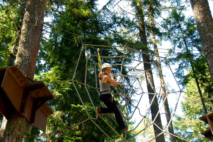 Ropes courses, canopy tours and other adventures allow kids to safely challenge themselves and are a classic element of summer camps. Photo courtesy Crista Camps