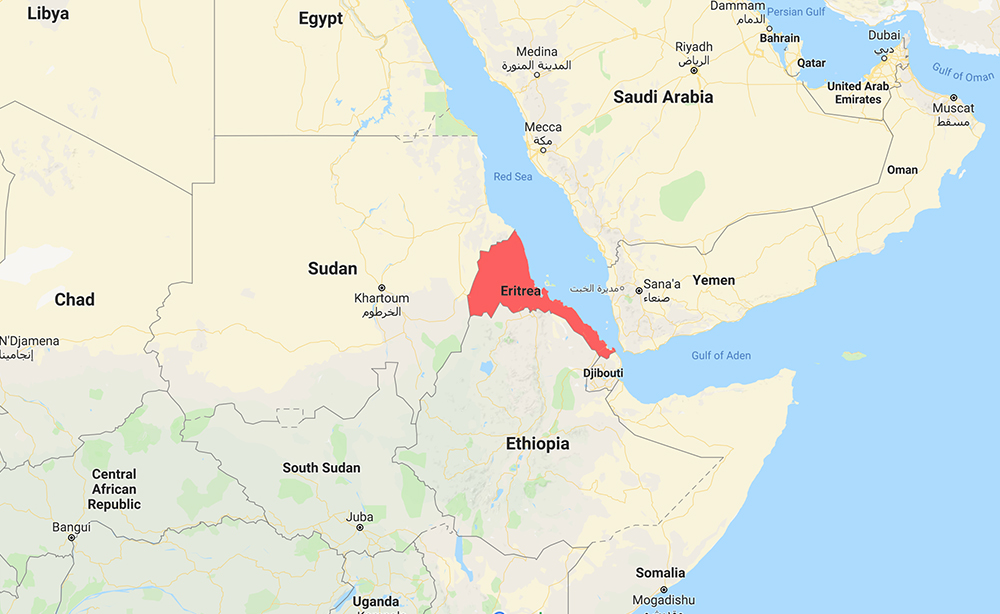 Eritrea, highlighted in red, is a small coastal nation north of Ethiopia in the Horn of Africa. Map courtesy of Google