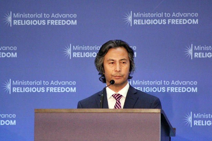 Tahir Hamut, a Uighur Muslim from China, addresses the Ministerial to Advance Religious Freedom at the State Department on July 24, 2018. RNS photo by Adelle M. Banks