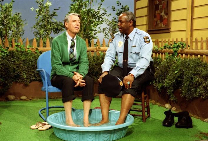 "Fred Rogers, left, with Francois Scarborough Clemmons on the show ""Mister Rogers' Neighborhood."" Photo by John Beale via Focus Features"