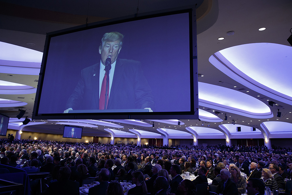 President Trump speaks during the National Prayer Breakfast on Feb. 2, 2017, in Washington. (AP Photo/Evan Vucci)