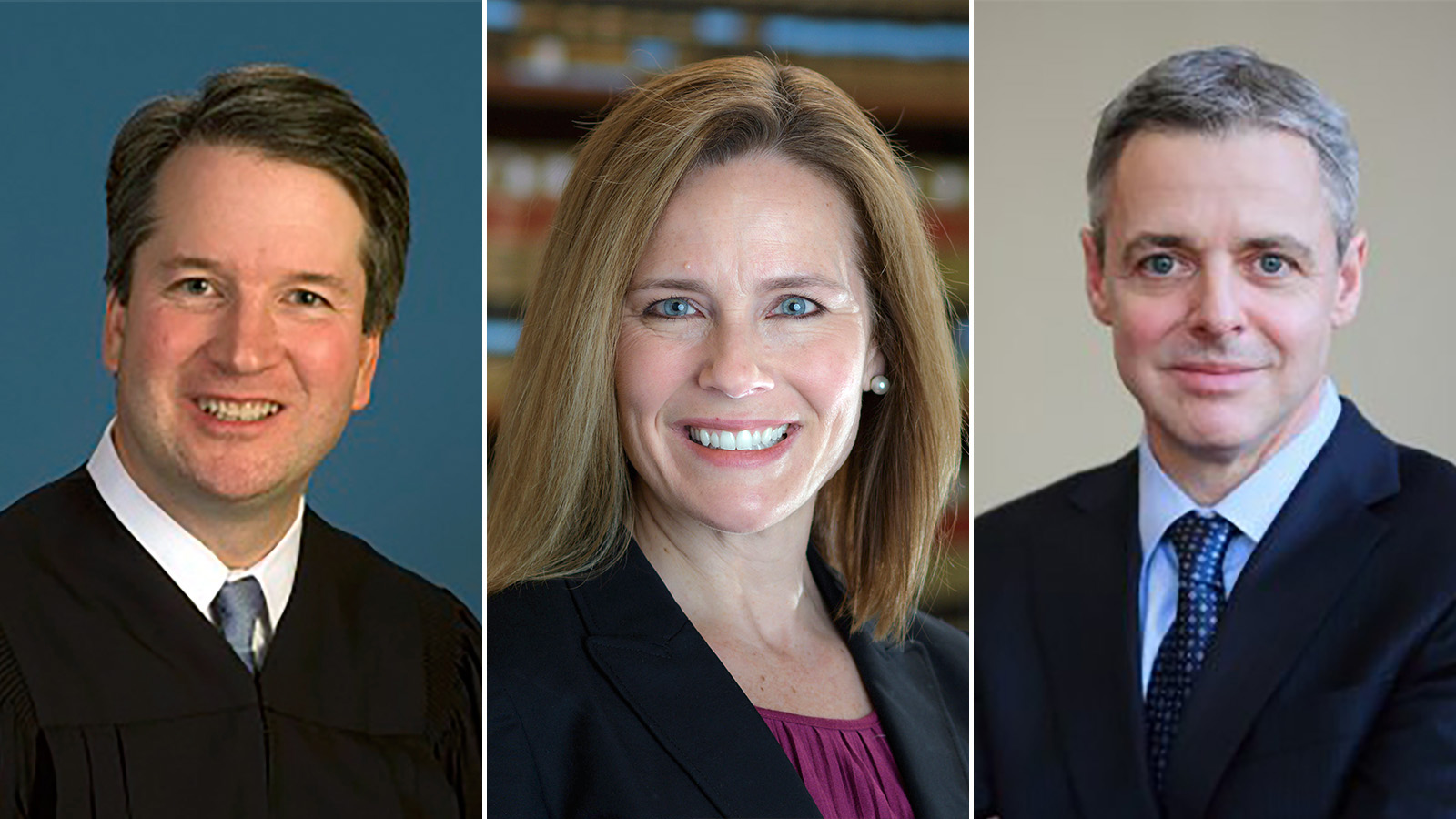 Potential Supreme Court nominees Brett Kavanaugh, from left, Amy Coney Barrett, and Raymond Kethledge.
