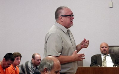 After receiving a dad's forgiveness for the vehicular homicide of his missionary son, Tony Weekly was sentenced to 180 days in prison. Photo by Tammy Bain, North Platte Telegraph. Used by permission.