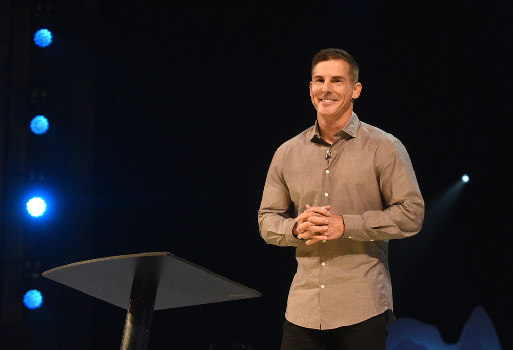 Life Church pastor Craig Groeschel speaks at the Global Leadership Summit Aug. 9, 2018, on the main campus of Willow Creek Community Church in South Barrington, Ill. Photo courtesy of Global Leadership Summit
