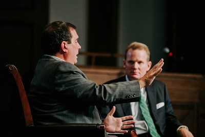 "Thom Rainer (left), president of LifeWay Christian Resources, interacts with Jason Allen, president of Midwestern Seminary, during a discussion titled ""The State of the SBC"" on Sept. 19. MBTS photo"