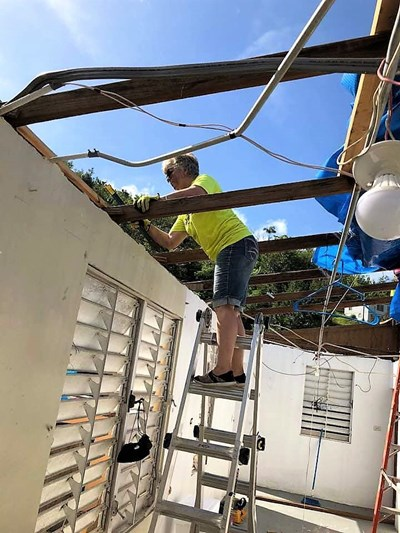 Send Relief volunteers trained in Southern Baptist Disaster Relief remove debris that is still prevalent in Puerto Rico a year after Hurricane Maria struck. Send Relief photo